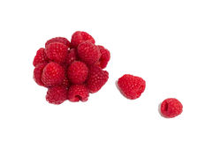 Ripe raspberries isolated. On white background close up royalty free stock photo