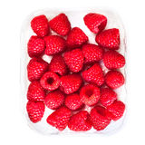 Ripe raspberries isolated on white background close up, macro Stock Image