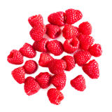 Ripe raspberries isolated on white background close up, macro. Top view Stock Image