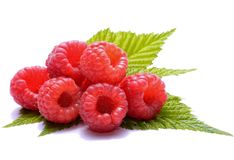 Ripe raspberries isolated on white background Stock Images