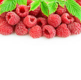 Ripe raspberries with leaves close-up isolated. On a white background Stock Photo