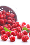 Ripe raspberries with mint leaves. On a white background Stock Photo