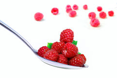 Ripe raspberries in a spoon Stock Photography