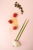 Ripe raspberries, sugar and dried green tea on a pastel pink bac Stock Image