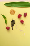 Ripe raspberries, sugar, mint leaves and a scattering of green t Stock Photography