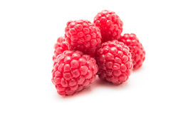 Ripe raspberries  on white background Royalty Free Stock Image