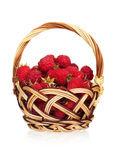Ripe raspberries. In a wicker basket  on white background Royalty Free Stock Image