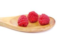 Ripe raspberries on wooden spoon. Ripe raspberries on wooden spoon Stock Images