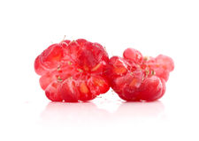 Ripe raspberry as is on white background close up. Image of a ripe raspberry as is on white background close up Stock Images