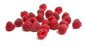 Ripe raspberry close-up isolated. On white background Stock Photography