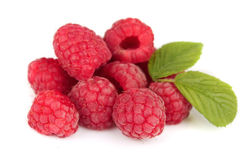 Ripe raspberry. Close up on white Stock Image