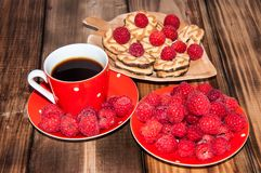 Ripe raspberry and coffee cup, Royalty Free Stock Photo