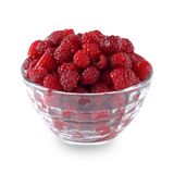 Ripe raspberry in a dish isolated Stock Image