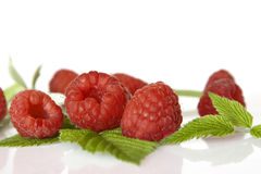 Ripe raspberry with green leaf. On white background Stock Images