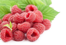 Ripe raspberry with green leaf. On white background Royalty Free Stock Photography