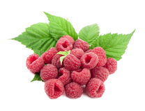Ripe raspberry with green leaf. On white background Stock Photo