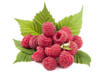 Ripe raspberry with green leaf. On white background Royalty Free Stock Photo