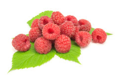 Ripe raspberry with green leaf on white background.  Royalty Free Stock Image