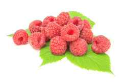 Ripe raspberry with green leaf on white background. Ripe raspberry with green leaf isolated on white background cutout Stock Photos