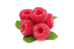 Ripe raspberry with green leaves (). Ripe raspberry with green leaves  on white background Royalty Free Stock Photos