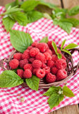 Ripe raspberry with leaf Stock Photo