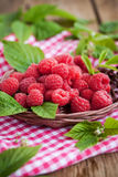 Ripe raspberry with leaf Royalty Free Stock Photography