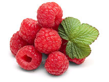 Ripe raspberry with leaf isolated on white Stock Photos