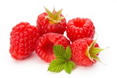 Ripe raspberry with leaf isolated on the white background. Fresh ripe raspberry with leaf isolated on the white background Royalty Free Stock Photos