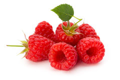 Ripe raspberry with leaf isolated on the white background. Fresh ripe raspberry with leaf isolated on the white background Stock Images