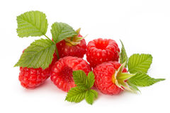 Ripe raspberry with leaf isolated on the white background. Fresh ripe raspberry with leaf isolated on the white background Royalty Free Stock Photography
