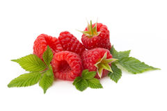Ripe raspberry with leaf isolated on the white background. Fresh ripe raspberry with leaf isolated on the white background Stock Image