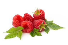 Ripe raspberry with leaf isolated on the white background. Fresh ripe raspberry with leaf isolated on the white background Stock Photography