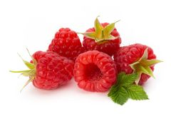 Fresh ripe raspberry with leaf isolated on the white background. Ripe raspberry with leaf isolated on the white background Stock Photos