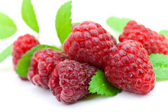 Ripe raspberry with mint leaves.  Royalty Free Stock Photos