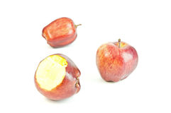 Ripe red apple. Isolated on a white background Stock Photos