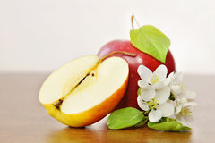 Ripe red apple fruit and apple flower on a wooden board Stock Photos