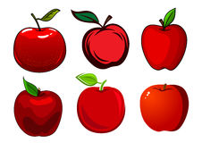 Ripe red apple fruits with leaves Royalty Free Stock Photos