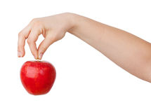 Ripe red apple in his hand Stock Photography