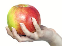 Ripe red apple in his hand Royalty Free Stock Images