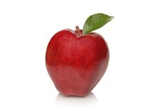 Ripe Red Apple with leaf Royalty Free Stock Photos
