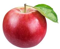 Ripe red apple with leaf. royalty free stock photo