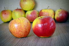 Ripe Red Apple  on Wood Background. Royalty Free Stock Image