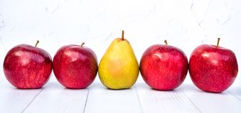 Ripe red apples. Autumn harvest of fruits royalty free stock images