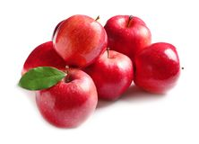 Ripe red apples on background. Ripe red apples on white background stock photo