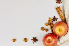 Ripe red apples, cinnamon, anise and hazelnuts on white knitted background with copy space stock image
