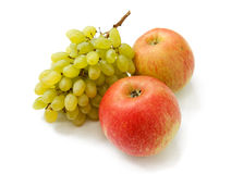 Ripe red apples and grapes Royalty Free Stock Images