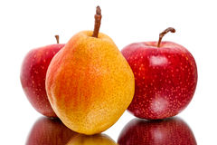 Ripe red apples and pear Stock Images