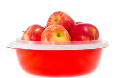 Ripe red apples on a plate Stock Photos