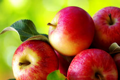 Ripe red apples on table Royalty Free Stock Images