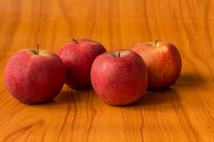 Ripe red apples on table close up Stock Images